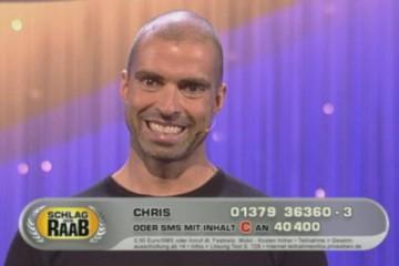 """Da traute gestern der eine oder andere wohl seinen Augen kaum, als man bei Kampfsau Stefan Raabs """"Schlag den Raab"""" Show auf Pro7 plötzlich Techno-Heroe Chris Liebing am Podium der Herausforderer wieder fand."""