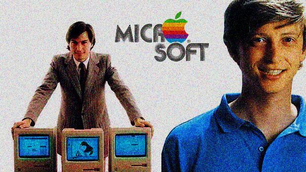 Bill Gates und Steve Jobs mit den altren Logos von Apple und Microsoft