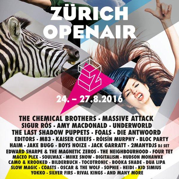 Zürich Openair Mittwoch, 24. bis Samstag, 27. August 2016 Festivalgelände, Glattbrugg, Zürich, Schweiz