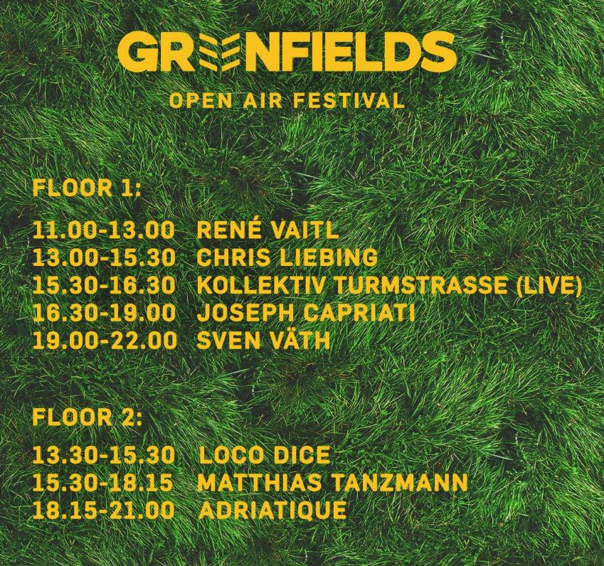 Greenfields München LineUp Timetable Spielzeiten 2017